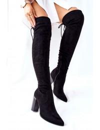 Elegantiški juodos spalvos stilingi ilgi batai virš kelių - 22-16283 BLK