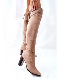 Elegantiški rusvos spalvos stilingi ilgi batai virš kelių - 22-16283 BEIGE