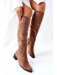 Zomšiniai elegantiški rudi ilgaauliai batai - 22-10641 BEIGE