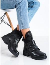 Išskirtiniai madingi juodi auliniai batai - YY6808B