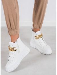 Išskirtiniai stilingi balti batai su aukso grandinėle - VL153W