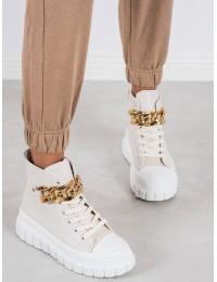 Išskirtiniai stilingi rusvi batai su aukso grandinėle - VL153BE