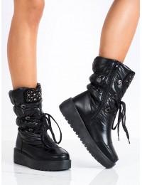 Juodi šilti žieminiai patogūs batai - HY03B