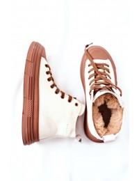 Šilti aukštos kokybės patogūs GOE batai - II2N4034 OFF WHITE/BR