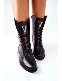 Išskirtinio dizaino natūralios odos Nicole batai - 2581/001 BLK