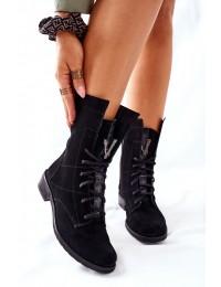 Išskirtinio dizaino natūralios verstos odos Nicole batai - 2581/028 BLK/W
