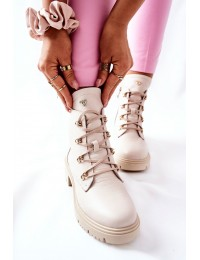 Natūralios odos smėlio spalvos aukštos kokybės Nicole aulinukai - 2674 054 BEIGE