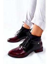 Natūralios odos išskirtiniai originalūs aukštos kokybės batai Marbled Maroon - 04744-29/00-7 BORDOWE