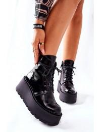 Juodi natūralios odos madingi batai su platforma - 05294-20 BLK