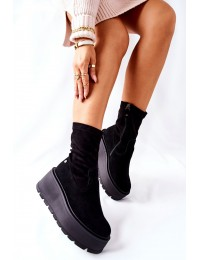 Juodi natūralios odos stilingi batai su platforma - 05319-01 BLK