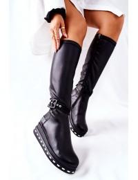 Natūralios odos juodi stilingi odiniai ilgaauliai - 05293-01 BLK