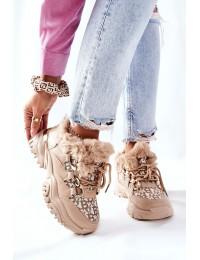 Madingi šilti patogūs sportinio stiliaus batai - HF219-63 KHAKI