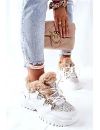 Madingi šilti patogūs sportinio stiliaus batai - HF219-9 WHITE
