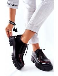 Madingi aukštos kokybės natūralios odos batai - 5074A-01/00-1 BLK/RED