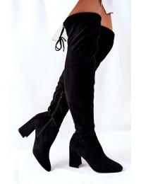 Juodos spalvos stilingi zomšiniai batai virš kelių - 4833-5 BLK