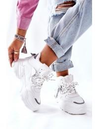 Balti sportiniai komfortiški batai su pašiltinimu - 21BT26-4356 WHT