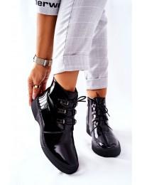 Klasikinės juodos spalvos elegantiški stilingi šilti aulinukai - S49 BLK