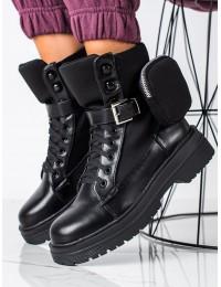 Juodos spalvos batai su stilinga kišenėle - A9876B