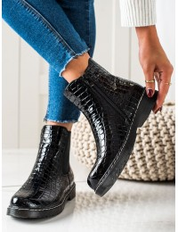 Krokodilo odos rašto stilingi juodi batai - DBT3055B