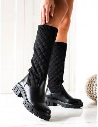 Klasikinės juodos spalvos ilgaauliai stilingu dygsniuotu aulu - DA81B
