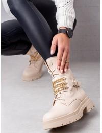 Aukštos kokybės batai dekoruoti aukso spalvos grandinėlėmis\n - NC1227BE