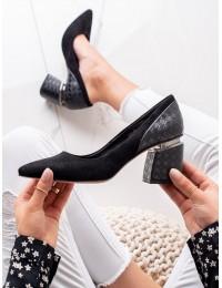 Išskirtinio dizaino juodi elegantiški batai - D290B