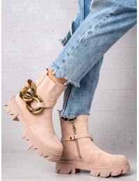 Zomšiniai pudrinės rožinės spalvos madingi batai - L13107-9BE