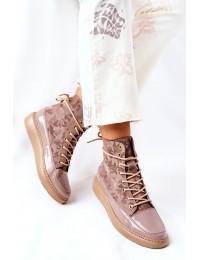 Natūralios odos aukštos kokybės stilingi batai - Beige Moro - 3034 BEŻ MORO
