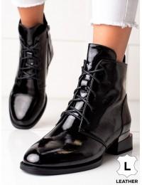 Elegantiški stilingi aukštos kokybės natūralios odos juodi aulinukai - 49C0206B