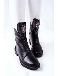 Juodi aukštos kokybės batai su stilingu užtrauktuku - 21-12013BK