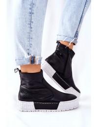 Natūralios odos šiuolaikiško dizaino aukštos kokybės batai - 05216-01 BLK