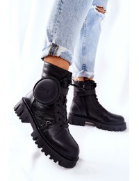 Natūralios odos stilingo dizaino juodi aulinukai - II274430 BLK