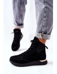 Stilingi aukštos kokybės natūralios zomšos batai Black Chocci - 21-15003BKG