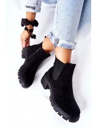 Stilingi juodi zomšiniai batai - DA82P BLK