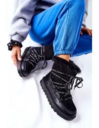 Šilti juodos spalvos žieminiai batai Black Salemi - 21-16002BK