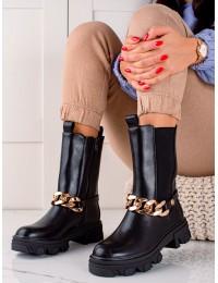 Madingi juodi batai papuošti aukso spalvos grandinėle - D7788B
