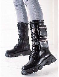 Išskirtinio dizaino juodi batai - 7709B