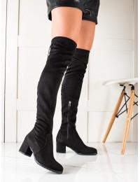 Juodi stilingi ilgi batai virš kelių - 21-57001B