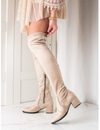 Smėlio spalvos stilingi ilgi batai virš kelių - 21-57001BE