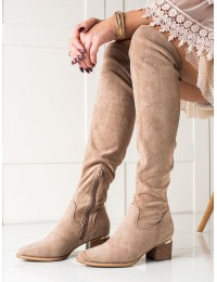 Smėlio spalvos stilingi aukštos kokybės ilgi batai virš kelių - 20KZ35-3330KH