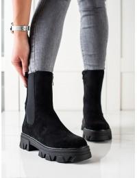 Madingi juodi aukštos kokybės batai - D7867B