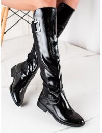 Elegantiški juodos lakuotos odos ilgaauliai - F5850B