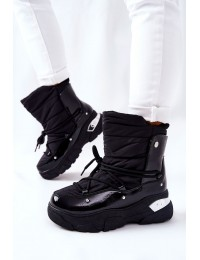 Šilti patogūs juodi žieminiai batai - 21-16001BK