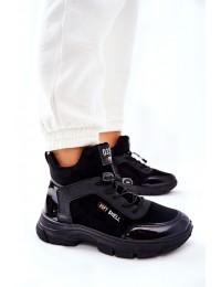 Sportinio dizaino šilti patogūs juodi batai - RM24-1 BLK
