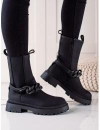 Juodi stilingi matinės odos aukštos kokybės batai - VR109B